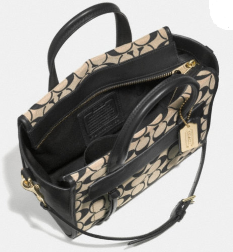 Coach Bleecker Mini Riley Carryall In Printed Signature Fabric - Light Khaki Madeira Vachetta 30168, 549, Handbags, Coach