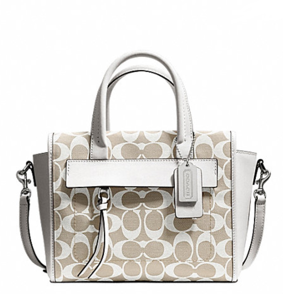 Coach Bleecker Mini Riley Carryall In Printed Signature Fabric - Ivory New Khaki White 30168, 650, Handbags, Coach