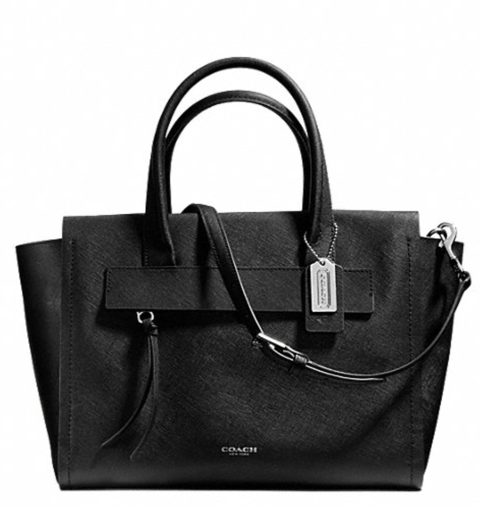 Coach Bleecker Saffiano Leather Riley Carryall - Black 30149, 1050, Handbags, Coach