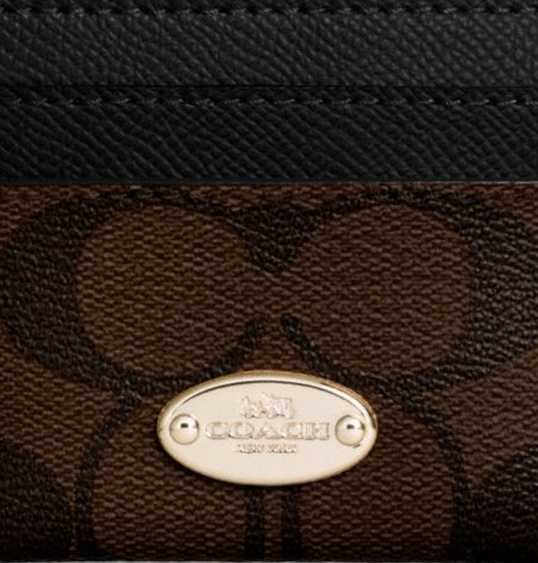 Coach Card Case In Signature Canvas - Brown Black F63279, 220, Accessories, Coach