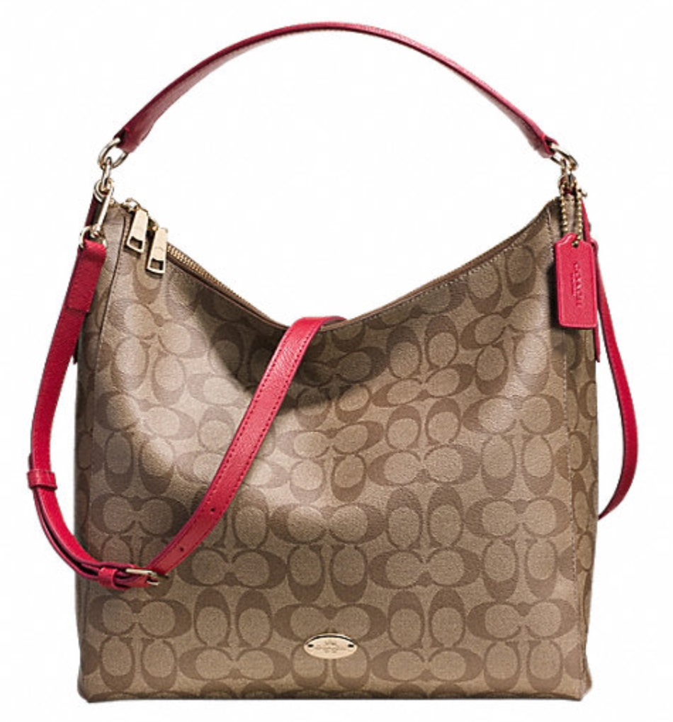 Coach Celeste Convertible Hobo in Signature Canvas - Khaki Red F34910, 850, Handbags, Coach