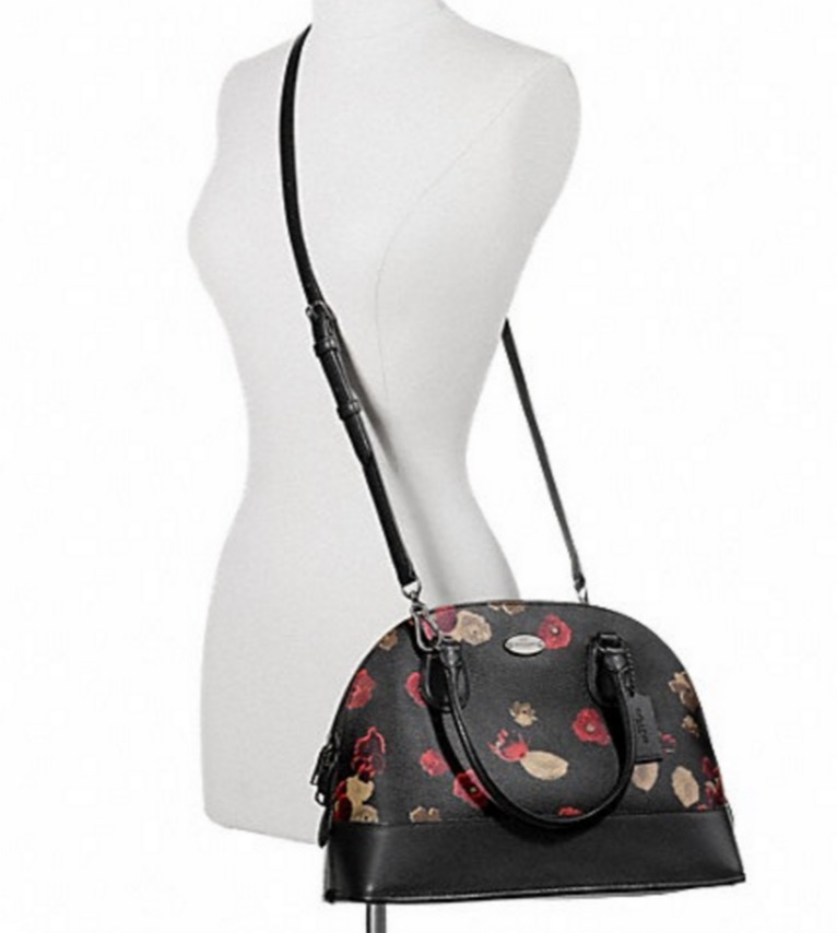 Coach Cora Domed Satchel In Floral Coated Canvas - Antique Nickel Black F37059, 850, Handbags, Coach