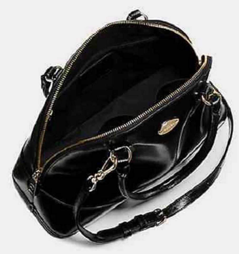Coach Cora Domed Satchel In Patent Crossgrain Leather - Sherry F36703, 820, Handbags, Coach