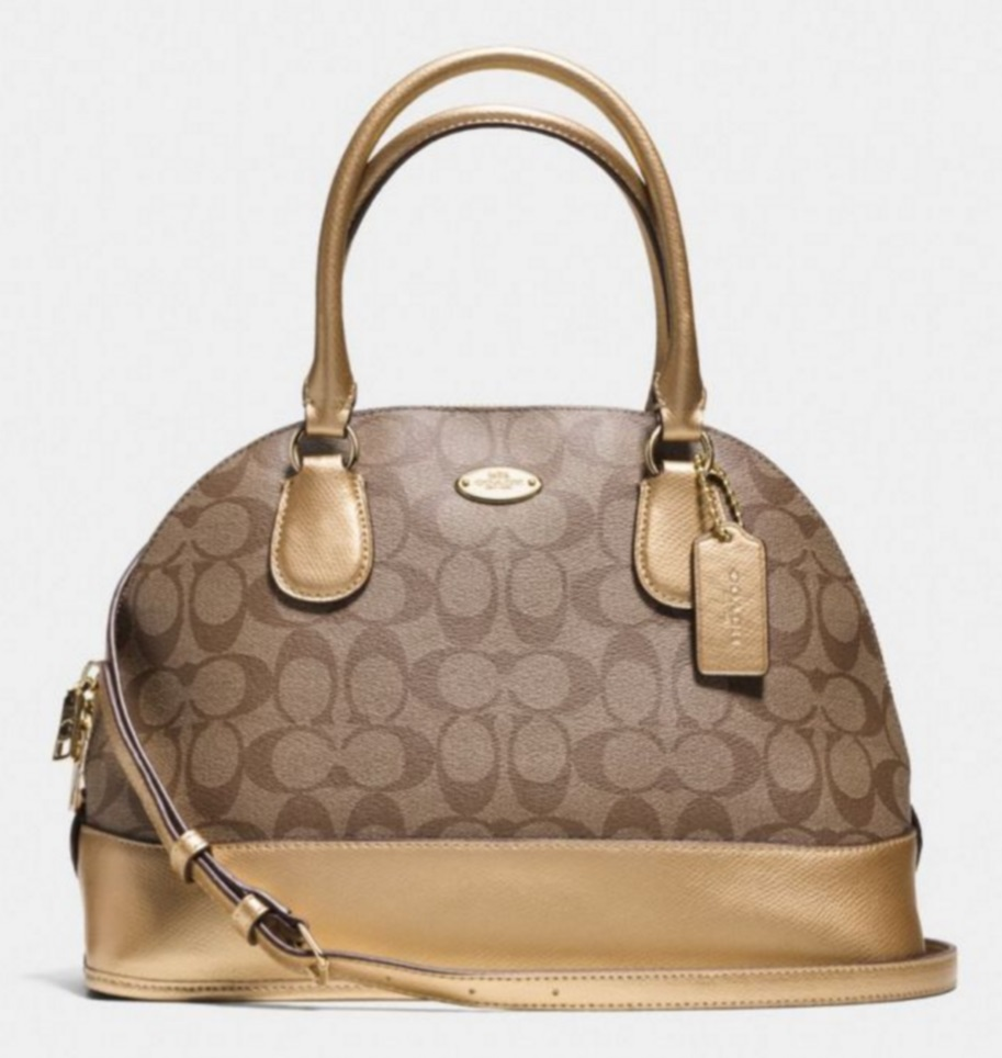 Coach Cora Domed Satchel In Signature Coated Canvas - Khaki Gold F33904, 820, Handbags, Coach