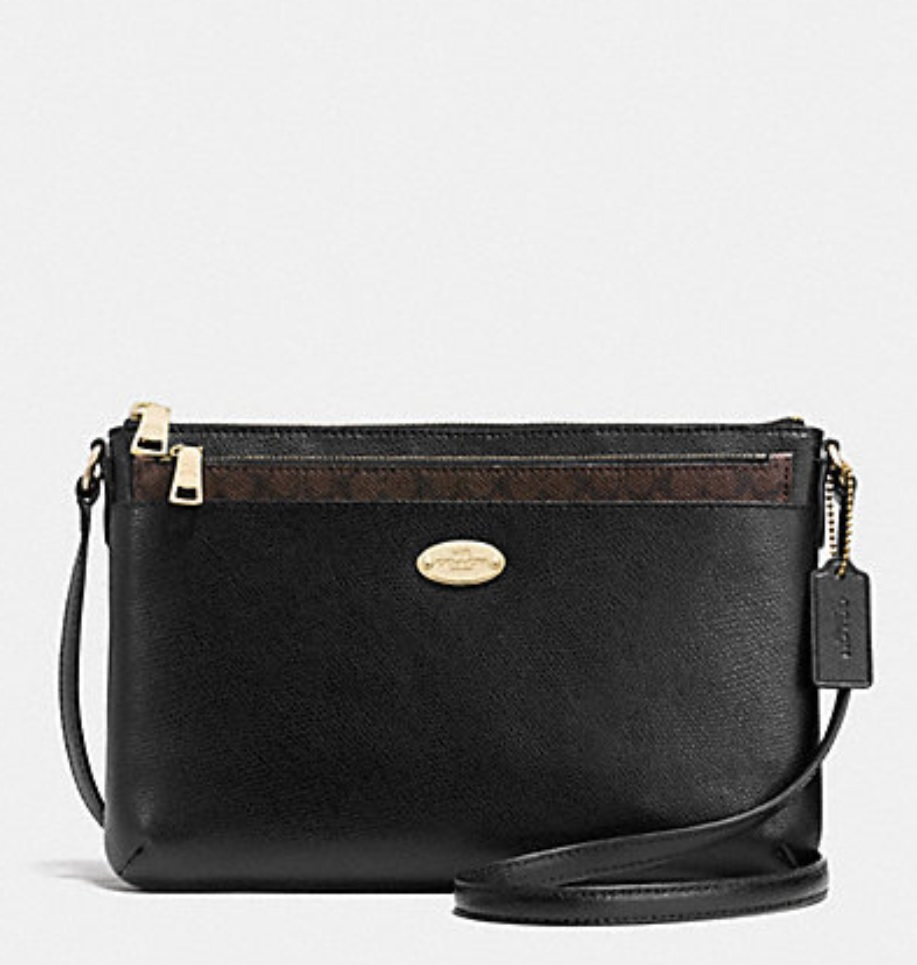 Coach Crossgrain Leather East West Pop Crossbody - Black F52881, 520, Handbags, Coach
