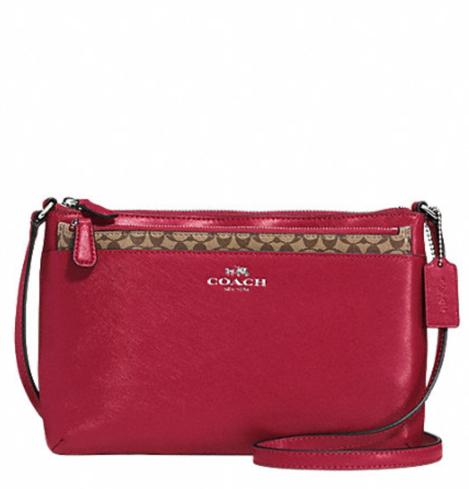 Coach Darcy Leather Swingpack With Pop Up Pouch - Red F52206, 520, Handbags, Coach