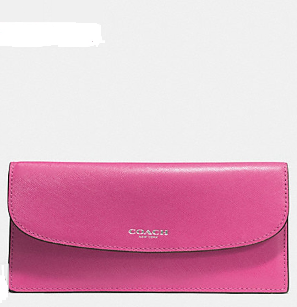 Coach Darcy Saffiano Leather Soft Wallet - Fuchsia F50428, 350, Wallets, Coach