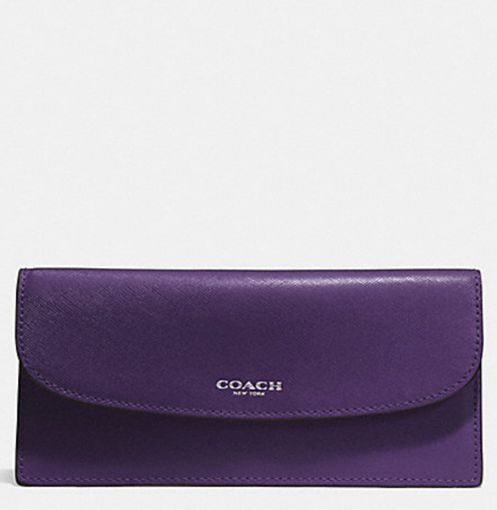 Coach Darcy Saffiano Leather Soft Wallet - Violet F50428, 350, Wallets, Coach