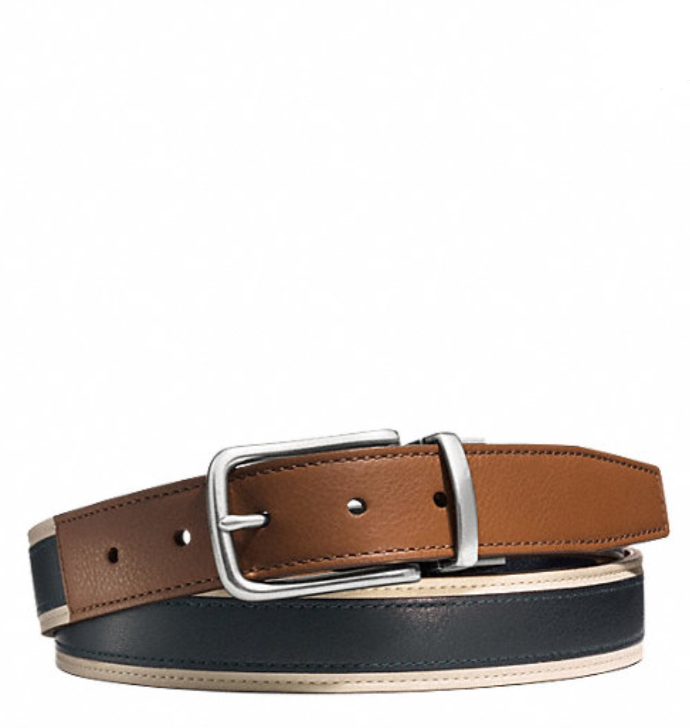 Coach Heritage Leather Sport Cut to Size Reversible Belt - Saddle Navy F62354, 280, Accessories, Coach