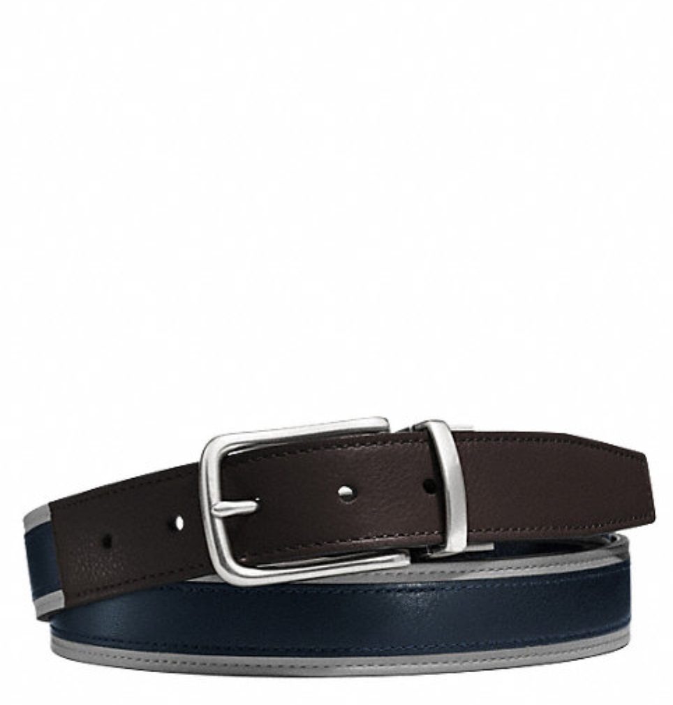 Coach Heritage Leather Sport Cut to Size Reversible Belt - Slate Black F62354, 280, Accessories, Coach