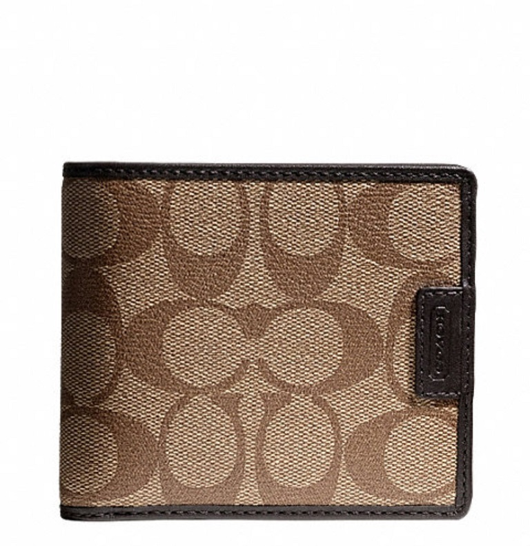 Coach Heritage Signature Compact ID Wallet - Khaki Brown F74736, 480, Men Wallets, Coach