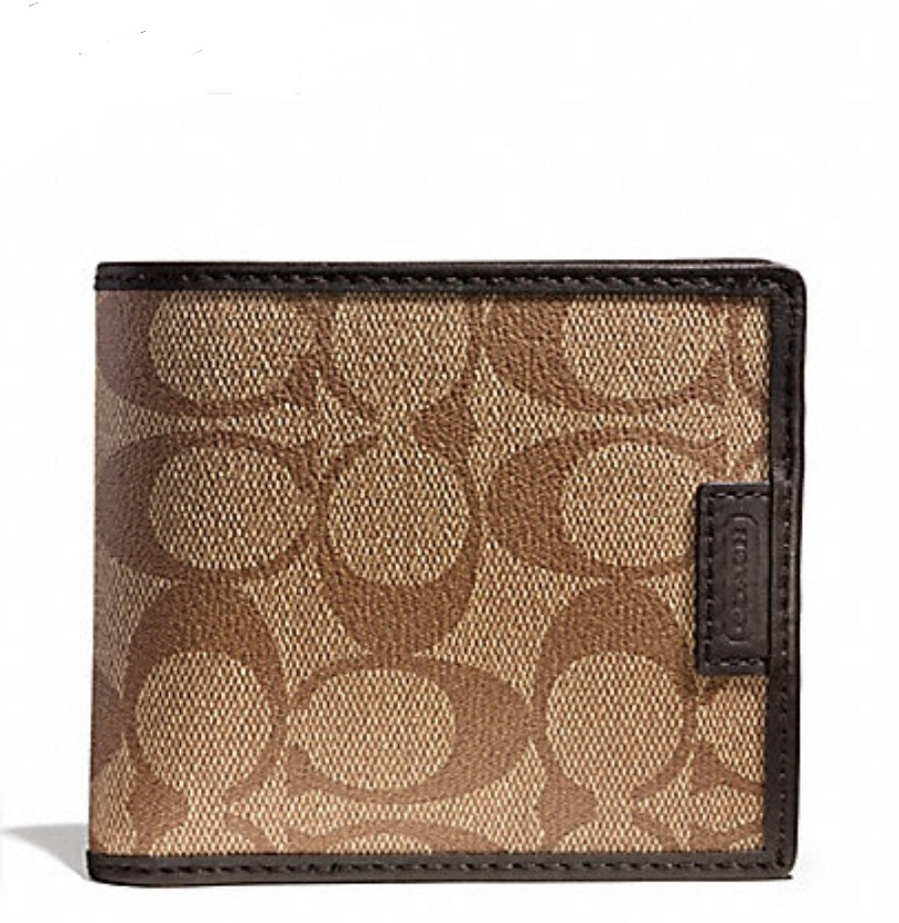 Coach Heritage Signature Double Billfold Wallet - Khaki Brown F74739, 420, Men Wallets, Coach