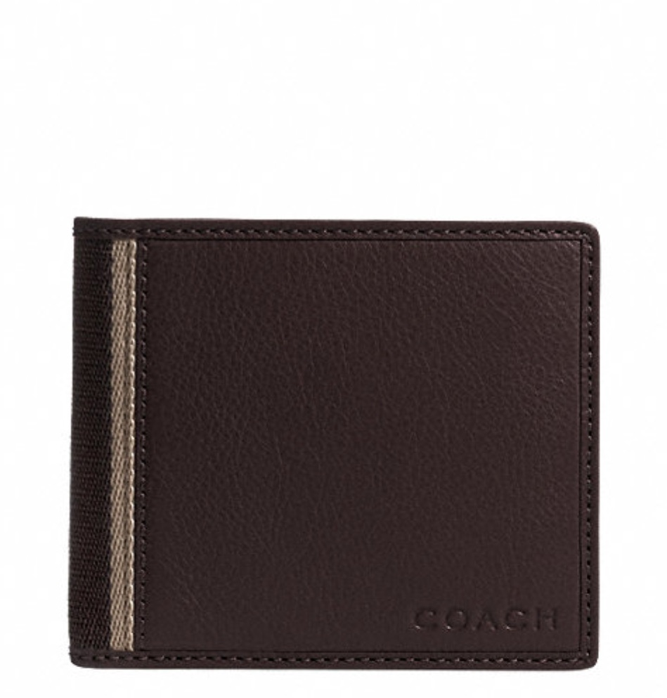 Coach Heritage Web Leather Compact ID Wallet - Brown F74688, 460, Men Wallets, Coach