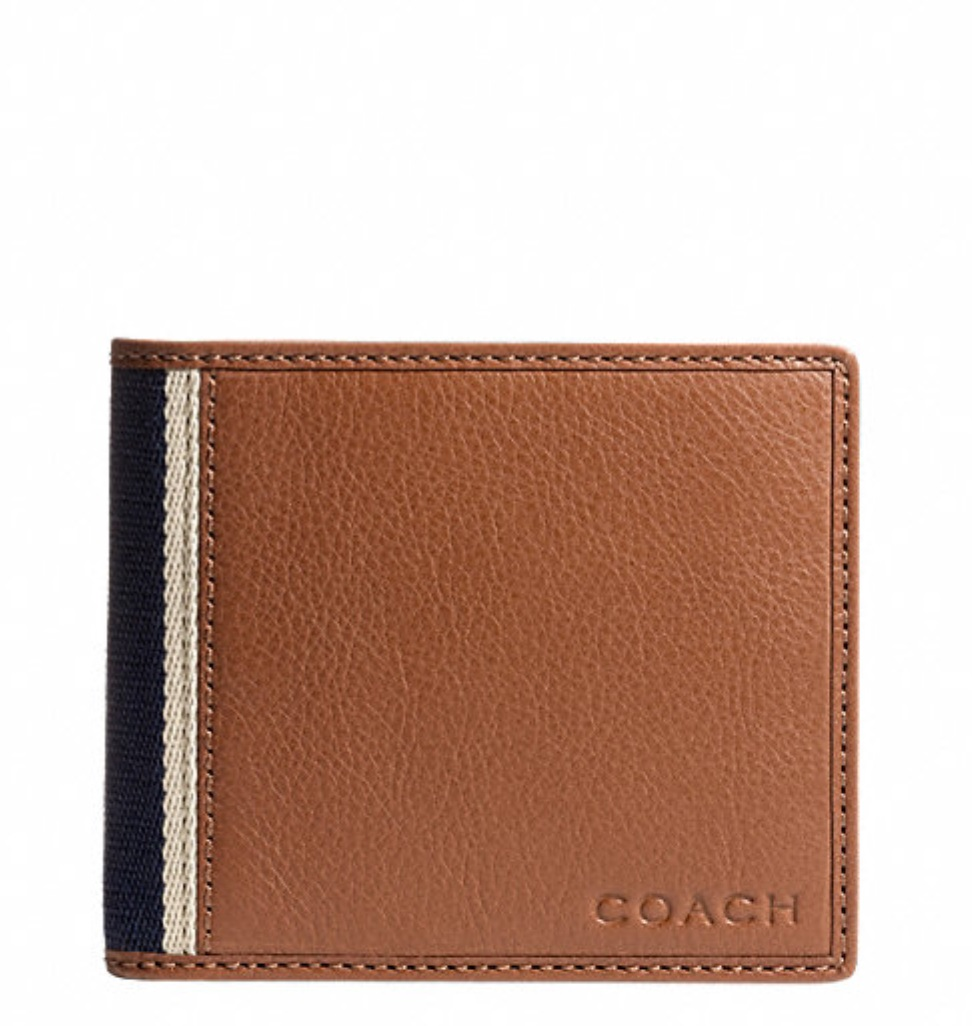 Coach Heritage Web Leather Compact ID Wallet - Saddle F74688, 480, Men Wallets, Coach