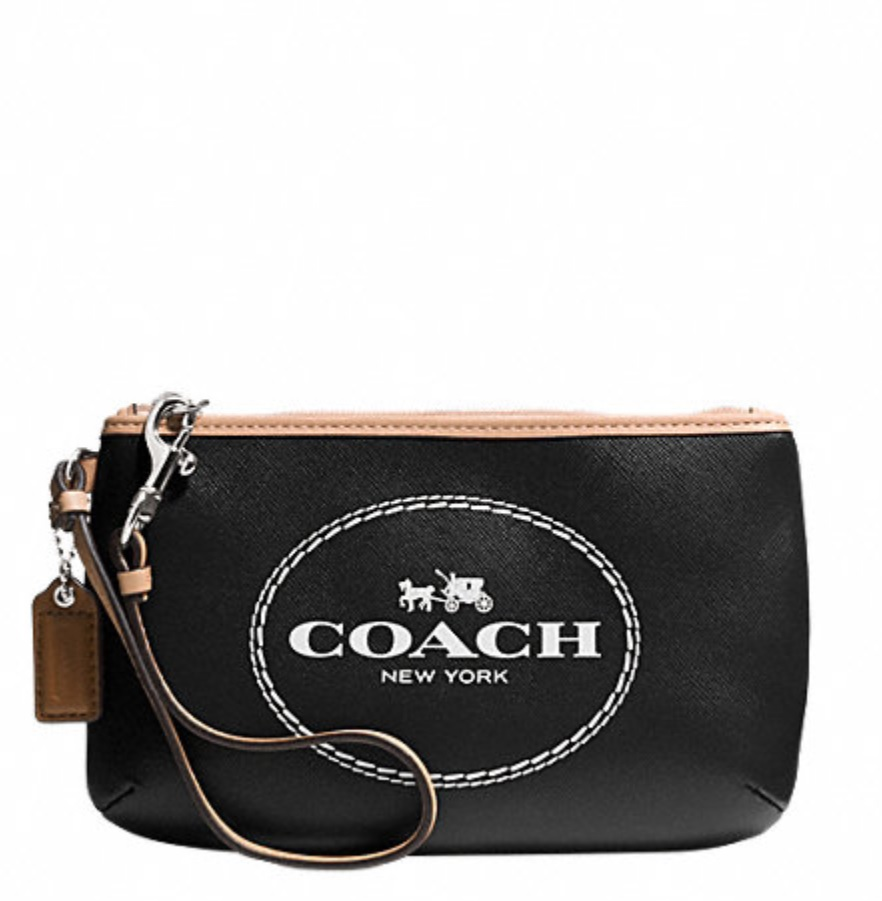 Coach Horse and Carriage Leather Medium Wristlet - Black F51788, 260, Wristlets, Coach