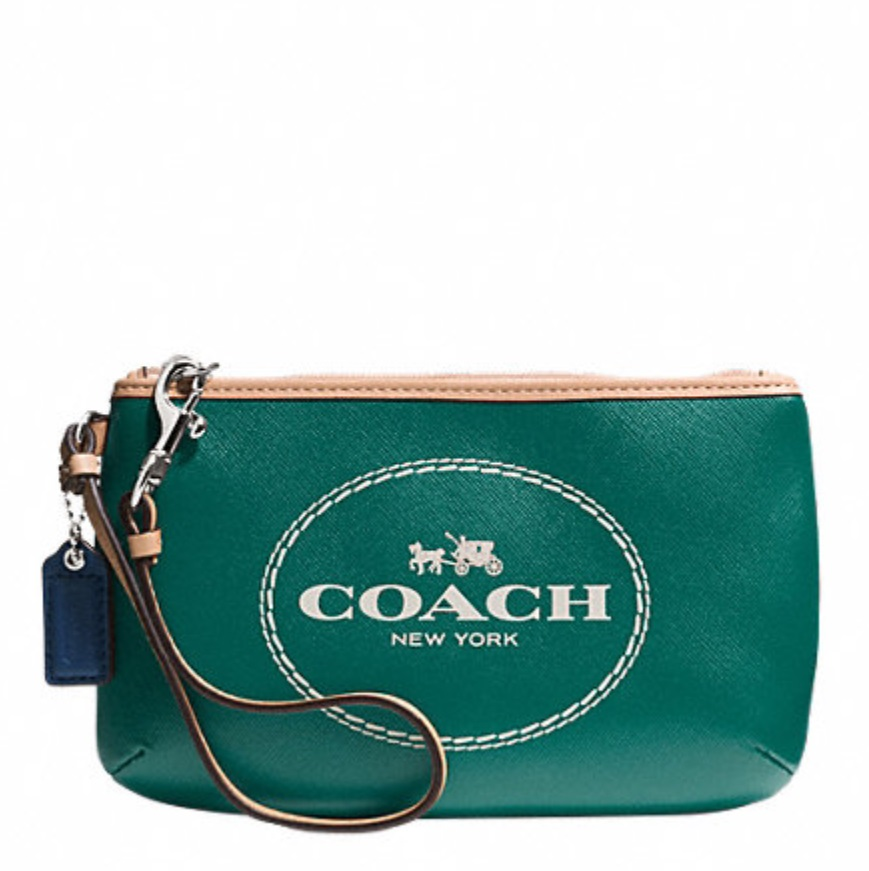 Coach Horse and Carriage Leather Medium Wristlet - Lagoon F51788, 260, Wristlets, Coach