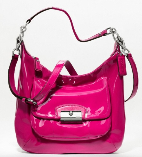 Coach Kristin Patent Hobo - Raspberry 19299, 759, Handbags, Coach