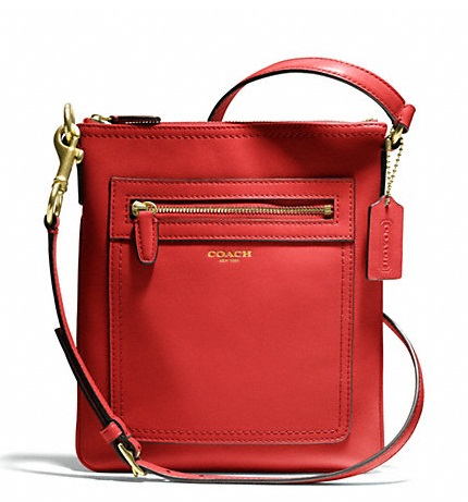 Coach Legacy Leather Swingpack - Coral Red 47989, 530, Handbags, Coach