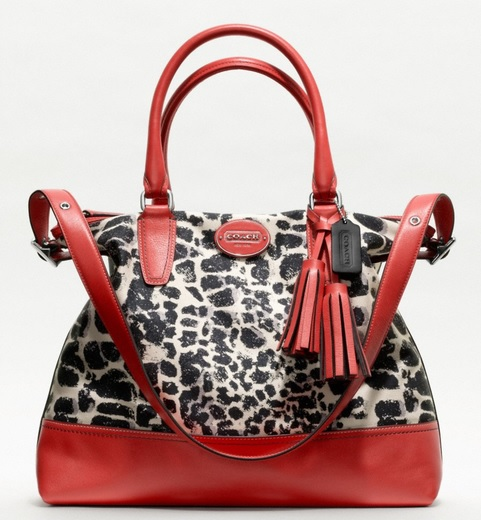 Coach Legacy Ocelot Print Rory Satchel - Neutral Carnelian 19988, 890, Handbags, Coach