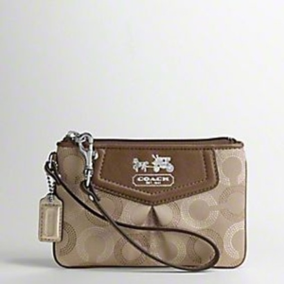 Coach Madison Dotted Op Art Wrisltet - Khaki Mahogany 44443