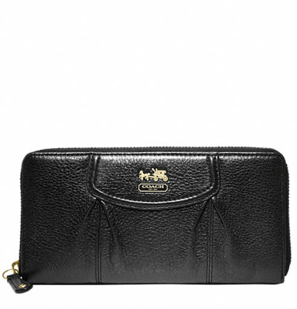 Coach Madison Leather Accordion Zip Wallet - Black 46601, 490, Wallets, Coach
