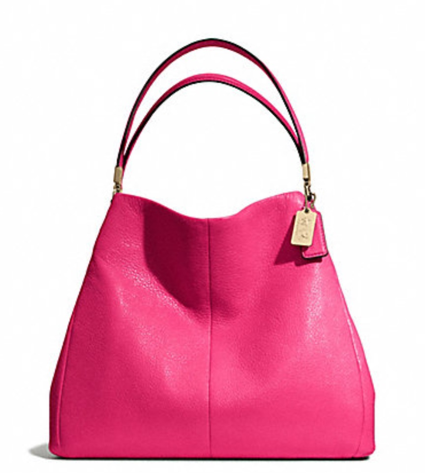 Coach Madison Leather Small Phoebe Shoulder Bag - Pink Ruby 26221, 990, Handbags, Coach