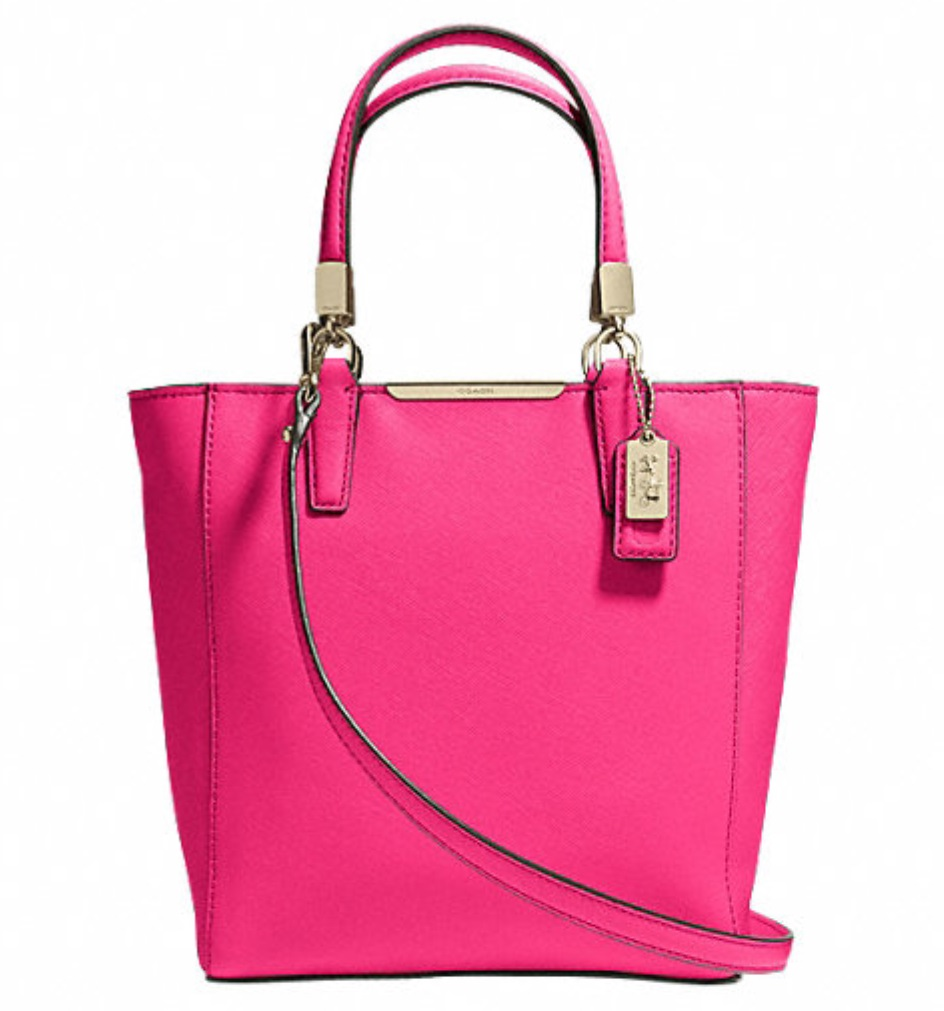 Coach Madison Mini North South Bonded in Saffiano Leather - Pink Ruby 29001, 790, Handbags, Coach
