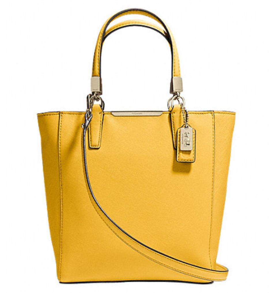 Coach Madison Mini North South Bonded in Saffiano Leather - Sunglow 29001, 730, Handbags, Coach
