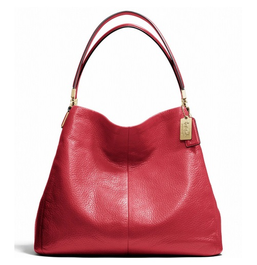 Coach Madison Small Phoebe Shoulder Bag in Leather - Scarlet 26224, 990, Handbags, Coach