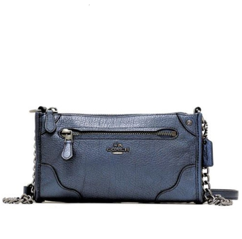 Coach Mickie Crossbody in Grain Leather - Pearlized Denim F52646, 590, Handbags, Coach