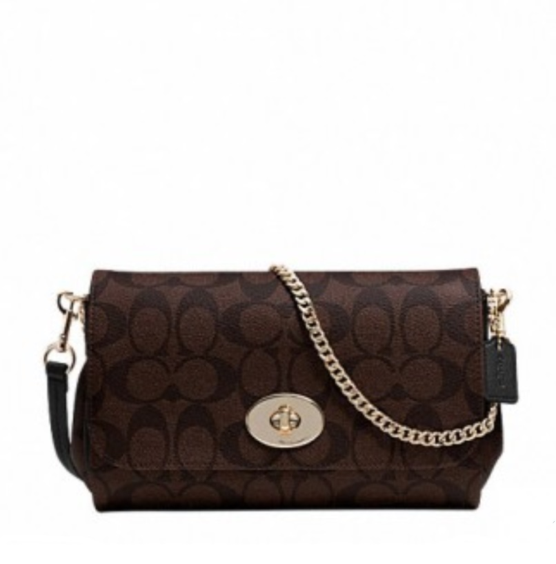 Coach Mini Ruby Crossbody in Signature Canvas - Brown Black F34615, 550, Handbags, Coach