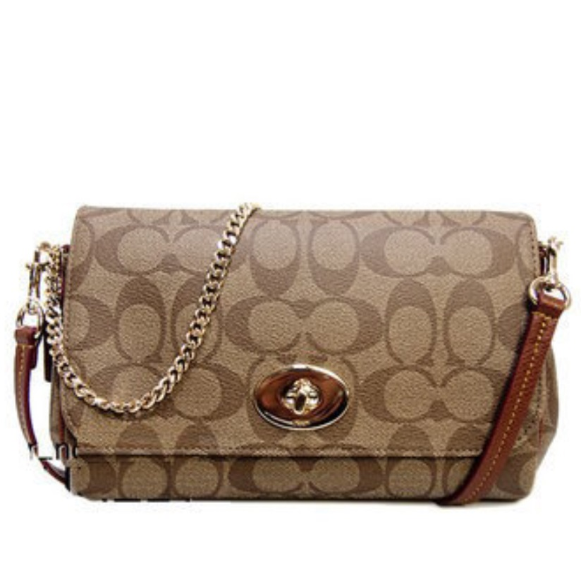 Coach Mini Ruby Crossbody in Signature Canvas - Khaki Saddle F34615, 550, Handbags, Coach