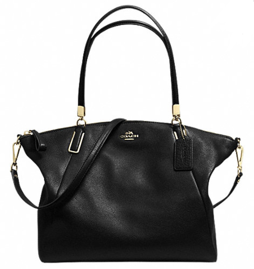 Coach Pebble Leather Kelsey Satchel - Black F34494, 1050, Handbags, Coach