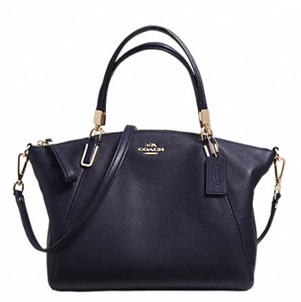 Coach Pebble Leather Small Kelsey Satchel - Midnight F34493, 890, Handbags, Coach