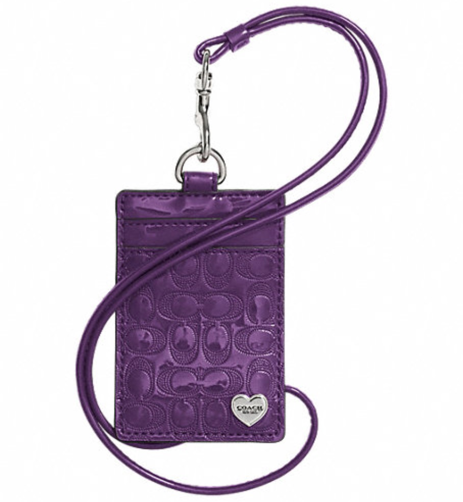 Coach Perforated Embossed Liquid Gloss Lanyard ID Case - Violet F62406, 170, Accessories, Coach
