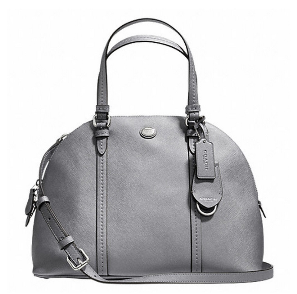 Coach Peyton Leather Cora Domed Satchel - Anthracite F25671, 820, Handbags, Coach