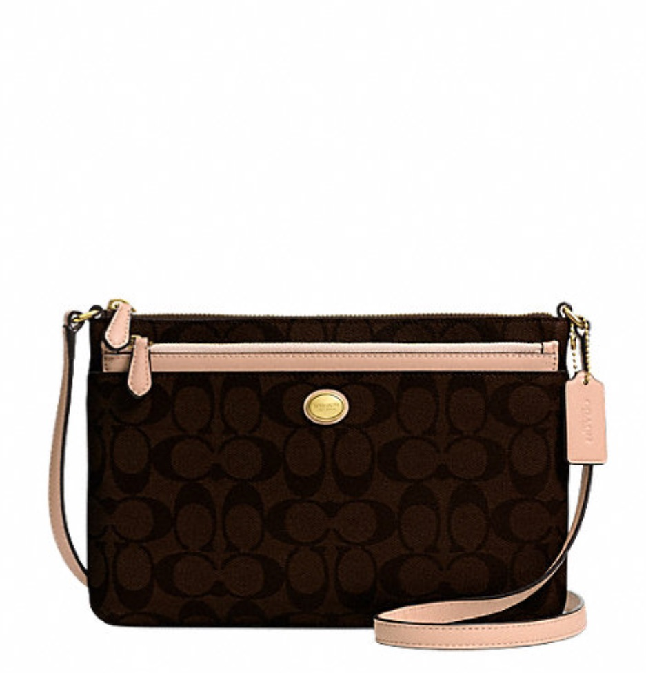Coach Peyton Signature Swingpack With Pop Up Pouch - Brown Tan F52175, 520, Handbags, Coach