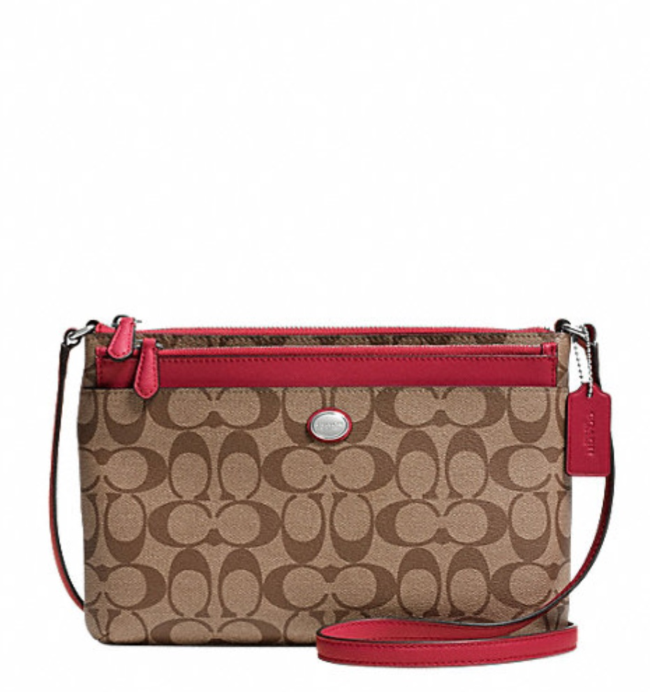 Coach Peyton Signature Swingpack With Pop Up Pouch - Khaki Red F52175, 520, Handbags, Coach