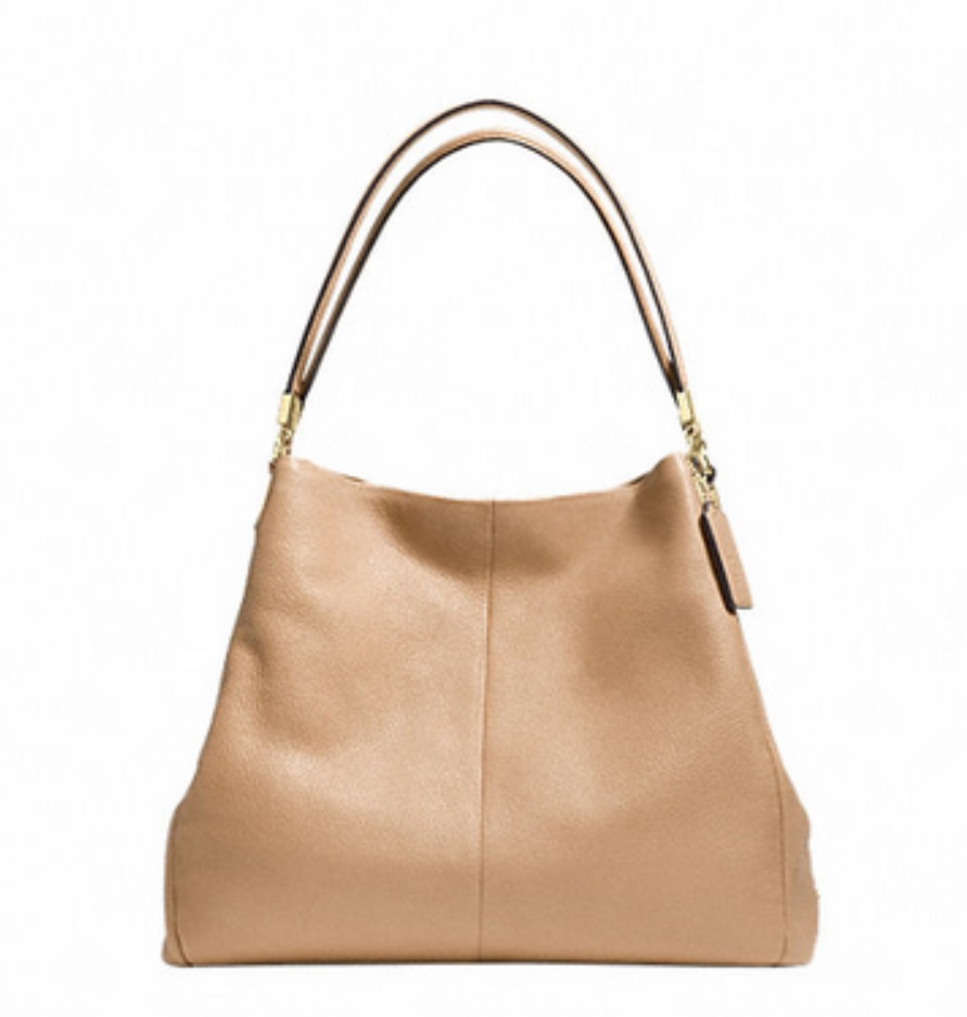 Coach Phoebe Shoulder Bag In Pebble Leather - Nude F34495, 990, Handbags, Coach