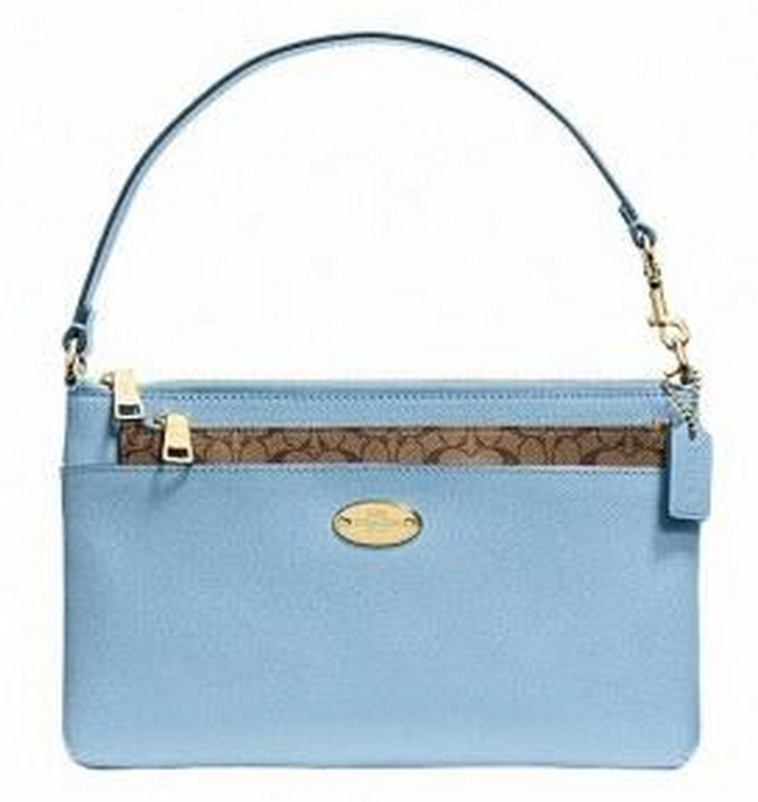 Coach Pop Up Pouch In Crossgrain Leather - Pale Blue F52598, 420, Wristlets, Coach
