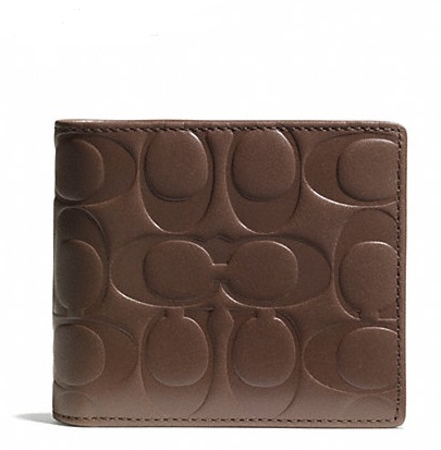 Coach Signature Embossed Leather Compact ID Wallet - Tobacco F74686, 520, Men Wallets, Coach