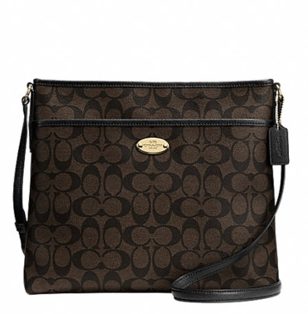 Coach Signature File Bag - Brown Black F34938, 620, Handbags, Coach