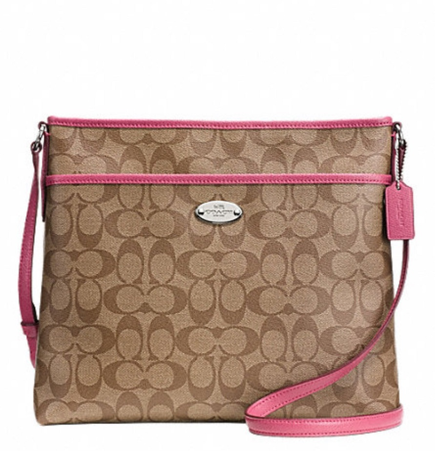 Coach Signature File Bag - Khaki Sunset Red F34938, 620, Handbags, Coach