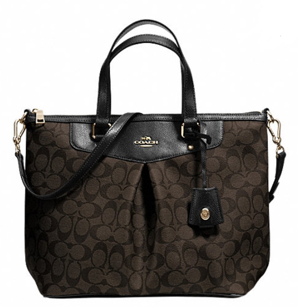 Coach Signature Pleat Tote - Brown Black F34614, 890, Handbags, Coach