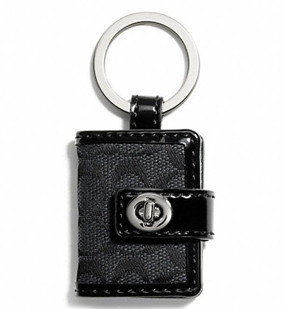 Coach Signature Turnlock Picture Frame Key Ring - Black Grey Black F65817, 140, Accessories, Coach