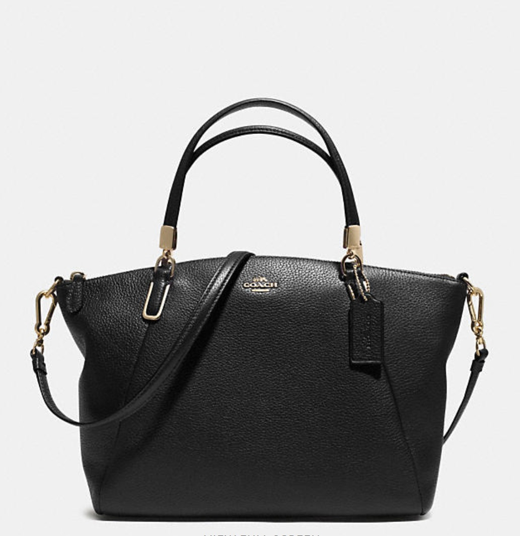 Coach Small Kelsey Crossbody In Pebbled Leather - Black 33733, 950, Handbags, Coach