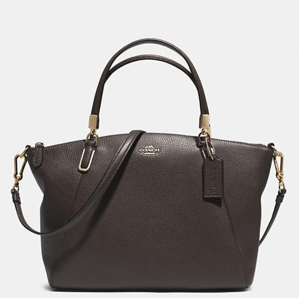 Coach Small Kelsey Crossbody In Pebbled Leather - Dark Brown 33733, 980, Handbags, Coach