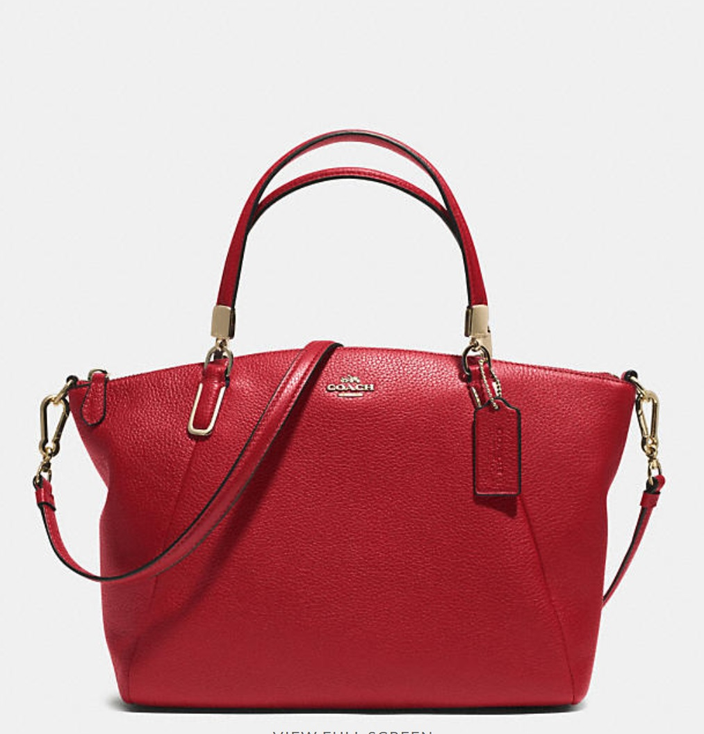 Coach Small Kelsey Crossbody In Pebbled Leather - Red Currant 33733, 950, Handbags, Coach