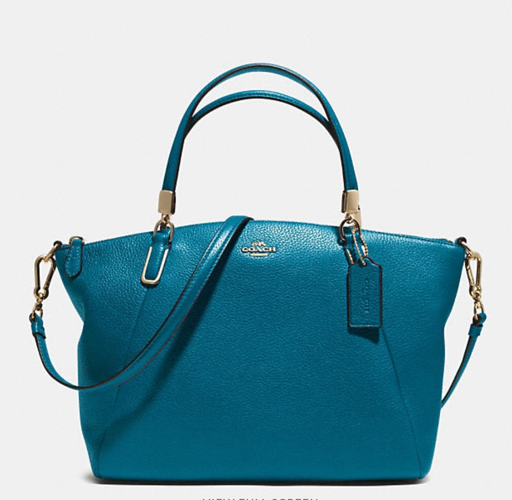 Coach Small Kelsey Crossbody In Pebbled Leather - Teal 33733, 950, Handbags, Coach