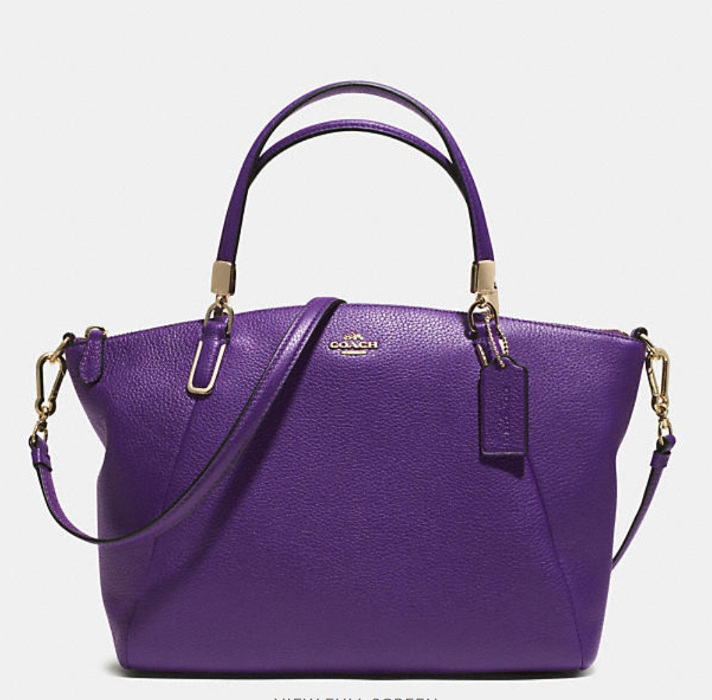 Coach Small Kelsey Crossbody In Pebbled Leather - Violet 33733, 920, Handbags, Coach